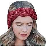 Fine Casual Sweater Headband,Fashionable Women's Knitting Twist Braid Super Wide Elastic Pure Color Hair Band (Wine)