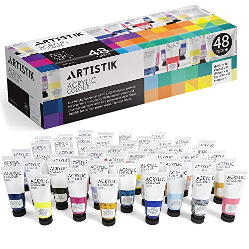 Acrylic Paint Set - 48 Piece Set (48 x 22ml) Tubes in Rich Vibrant Colors - Pigments Formulated for...