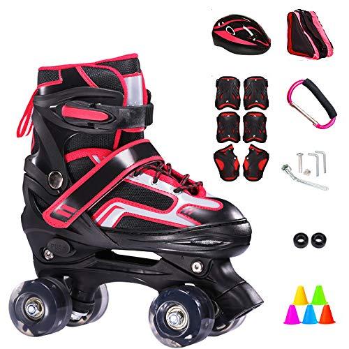 ZCRFY Inline-Skates Rollschuhe Verstellbare Zweireihige 4-Rad-Kinder Inline-Skates Roller Für Anfänger 2-15 Jahre Alte Kinder Eisschuhe Geburtstagsgeschenke,Red-S(26-33) Code-Set1