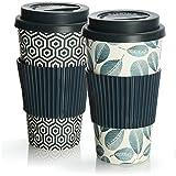 com-four® 2X Tazza da caffè da asporto in plastica - Tazza da caffè da asporto - caffè da asporto - Tazza da Bere Riutilizzabile - Tazza da Viaggio - 425 ml (02 Pezzi - Motivo Blu/Foglio Blu)