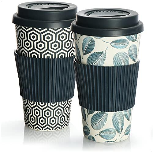 com-four® 2X Coffee to go Becher aus Bambus - Kaffeebecher to go - Kaffee to go - wiederverwendbarer Trinkbecher - Reisebecher mit Deckel - 425 ml (02 Stück - blau Muster/blau Blatt)