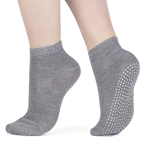 All Things Accessory 3x Packung Yoga Socken Pilates Ballet Socken - Martial Arts, Fitness, Zumba, Tanz - Anti-Rutsch - Full Toe Sports Socken - Unisex mit Grip, UK 6-11 / EU 39-46 (Light Grey)