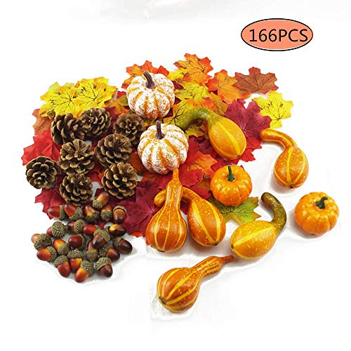 XYTMY 166 PCS Artificial Fake Pumpkins with Lifelike Maple Leaves,Realistic Acorn with Natural Cap, Pinecones Ornament for Halloween Thanksgiving Fall Harvest Home Decoration