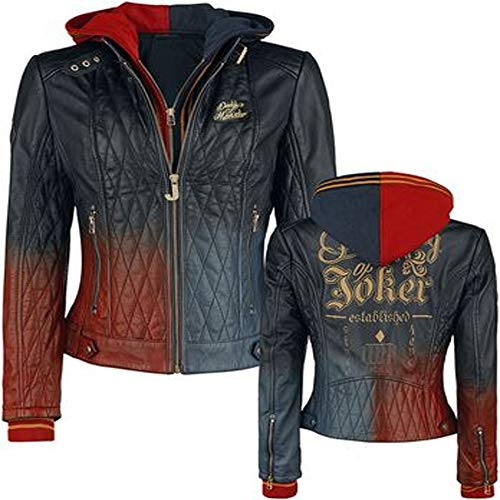 Harley Quinn Daddys Lil Monster gesteppte Lederjacke für Damen Gr. 50, Blau und Rot (mehrfarbig)