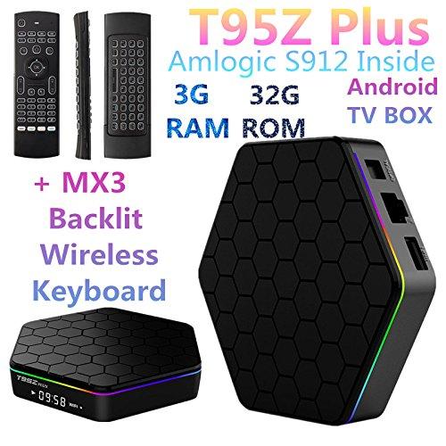 3G RAM 32G ROM t95z Plus Amlogic S912Octa Core Android TV Box Media Player 4K HD 2,4G & 5G WIFI BT4.0Gigabit LAN Android 7.1Smart TV Box + MX3Hintergrundbeleuchtung Wireless Tastatur