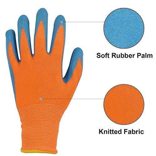 GLOSAV 3 Pairs Kids Gardening Gloves for Yard Work, Children Latex Garden Gloves for Age 2-12 Toddler, Girls, Boys (Size 2 for 2, 3, 4 Year Old)