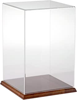 """Plymor Brand Clear Acrylic Display Case with Hardwood Base, 8"""" W x 8"""" D x 12"""" H"""