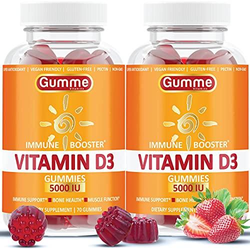 Vitamin D3 Gummies 5000 IU Chewable VIT D Gummy Supplements for Adults Kids Immune Support - Chews Bone Health Women Men Vitamin Alternative to Capsules, Softgels, Tablet, Drops 125mcg 2 Pack