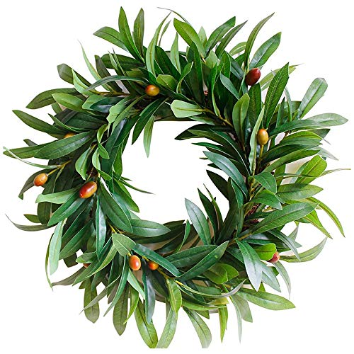 Camisin Olive Branch Greenery Wreath, 17 Inches Small Green Leaves Wreath for Front Door or Indoor, Door Wreaths for All Seasons