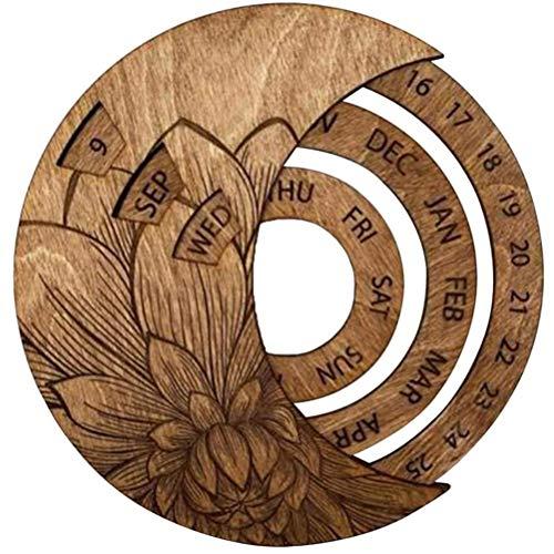 Tianlun Calendario de Pared de Madera, Calendario de Madera para Siempre Calendario, Calendario perpetuo Redondo Calendario de Escritorio de Estudio Decoración de artesanía Artesanía de Madera para