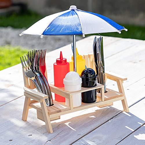 Out of the Blue Besteckset Besteck Gewürzhalter BBQ Grill Gartenbank Design aus Holz mit Sonnenschirm Ketchup Senf Flasche Salz Pfeffer Streuer Messer Kabel Kunstoff