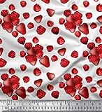 Soimoi Weiß Baumwolle Batist Stoff Himbeere, Erdbeere und