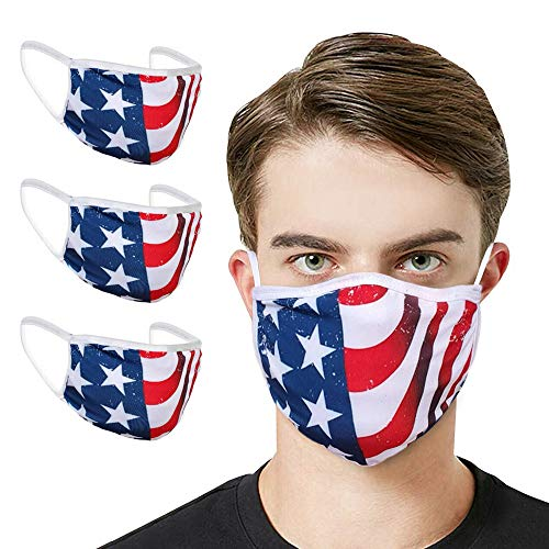 3PCS Made in the USA - Washable Reusable Comfortable Cotton | American Flag Face_Masks Mouth Face Protect Bandana Dust_Mask Unisex Adult Great Gift for Independence Day Fourth 4th of July (3 Pieces)