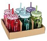 Set di 6bicchieri stile barattolo di conserva- Caraffa Vintage colorata - 6colori assortiti