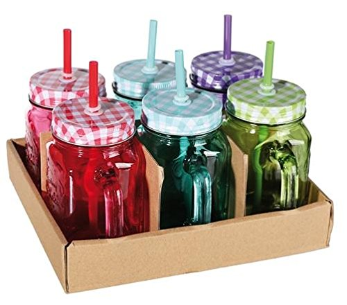 PEARL Lot de 6 Verres 400 ml Rétro avec Paille et Couvercle Métal Coloris Aléatoire (Cuisine)