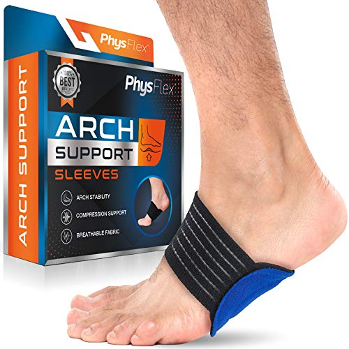 PhysFlex Arch Support Sleeve - Compression Brace for Plantar Fasciitis, Heel Spurs, Flat Feet - Lightweight, Flexible & Breathable Alignment & Pain Relief Band - Washable & Reusable - Universal Fit