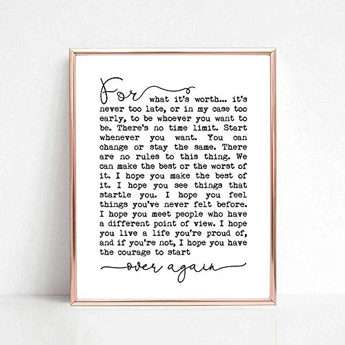 F. Scott Fitzgerald Quotes, For What It's Worth, Inspirational Print, Make The Best of It, Inspirational Gift, Typography Quote Print, 8x10 inch No Frame