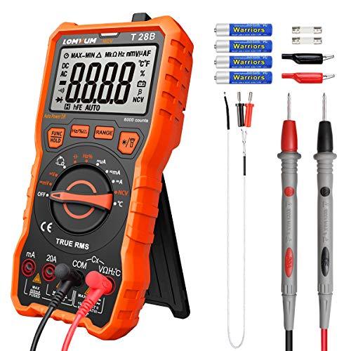 Multímetro digital LOMVUM TRMS 6000 unidades de rango de voltaje, medidor de voltaje, corriente, resistencia, continuidad, frecuencia, prueba de diodos, transistores, temperatura
