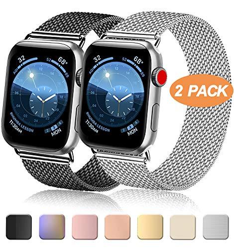 Meliya Cinturino Compatibile per Apple Watch Cinturino 44mm 42mm 40mm 38mm Series 5 4 3 2 1, Cinturino Orologio in Maglia Milanese a Acciaio Inossidabile Cinturini in Metallo (38/40mm, Nero+Argento)