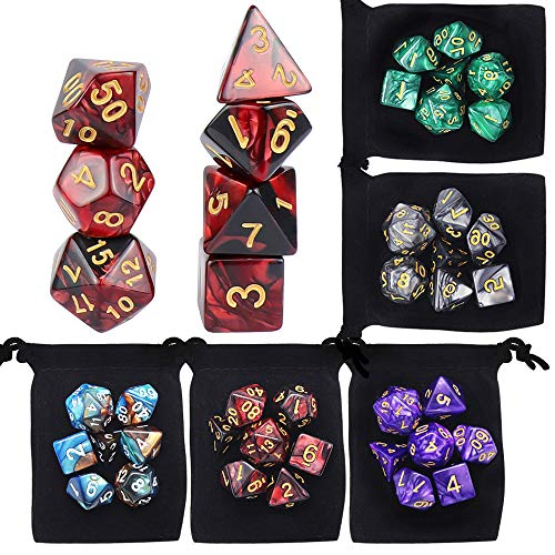 5 x 7 DND Dice Polyhedral Dice Set, Yotako Double-Colors Polyheral Game Dice with Velvet Dice Bag D4 D6 D8 D10 D12 D20 Dice for DND RPG MTG Dungeons and Dragons Dice Games Pathfinder Dice
