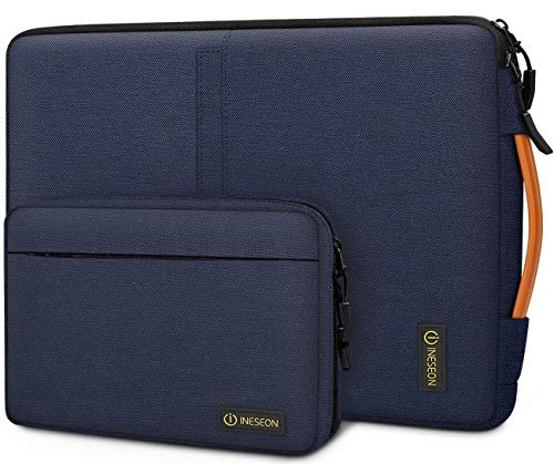 iNeseon 13.3-14 Inch Laptop Sleeve Case Protective Cover Carry Bag with Handle and Detachable Accessory Pouch, Navy Blue