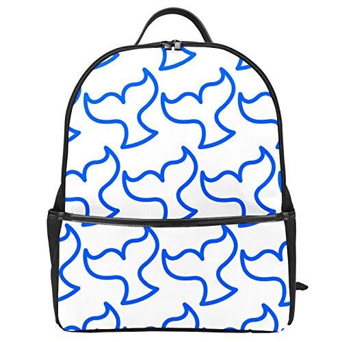 Blauer Killerwalschwanz, Orca-Muster, Schulranzen, Rucksack, Segeltuch, große Kapazität, Schulranzen, lässiger Reise-Tagesrucksack für Kinder, Mädchen, Jungen, Kinder, Studenten