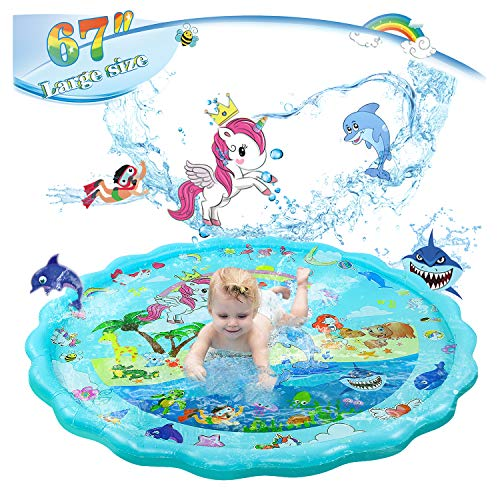 "Blesnow 67"" Inflatable Pool Sprinkler Splash Pad for Kids Toddler, Pool Toys --Wading Baby Pool Sprinklers for Yard, Fun Water Toys Splash Mats Large, Dog Water Sprinkler Toy Water Mat Unicorn"