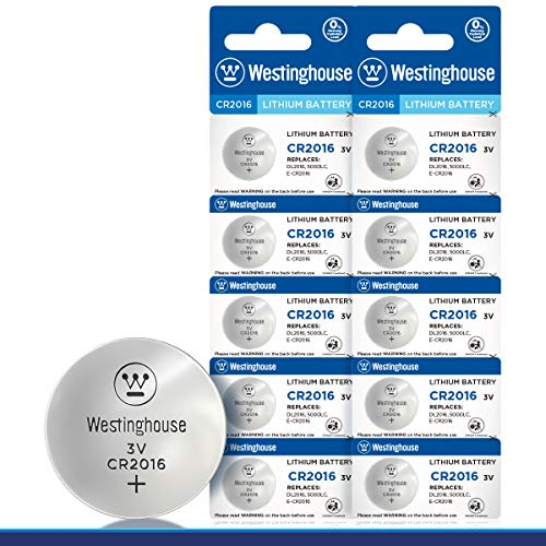 Westinghouse CR2016 Lithium Button Cell, Button Battery, Remote Battery, Remote Battery Cells (10 Counts)