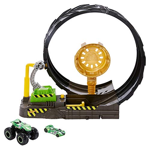 Hot Wheels GKY00 - Monster Trucks Looping Challenge Spielset mit 1 Monster Truck und 1 Hot Wheels Fahrzeug im Maßstab 1:64, Spielzeug ab 3 Jahren