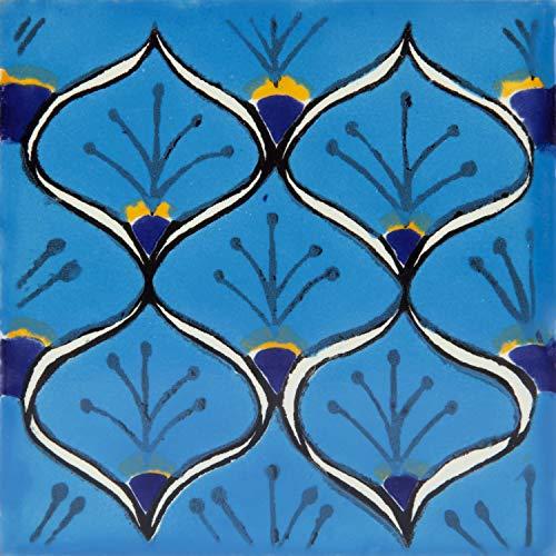 Juanma- 30 Azulejos mexicanos 10x10 cm - Baldosas de cerámica artesanal de Talavera para baños, ducha, escaleras, pared de cocina. Mucho mejor que las calcomanias autoadhesivas.