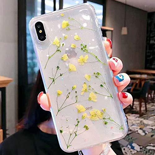 Tybiky Cover per iPhone 13 Mini, motivo: fiori secchi, in gel di cristallo, ultra sottile, per iPhone 13 Mini, colore: giallo