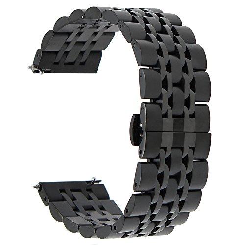 TRUMiRR 22mm Liberación Rápida Banda de Reloj de Acero Inoxidable Mariposa Correa de Hebilla para Samsung Gear S3 Classic Frontier, Samsung Galaxy Watch 46 mm