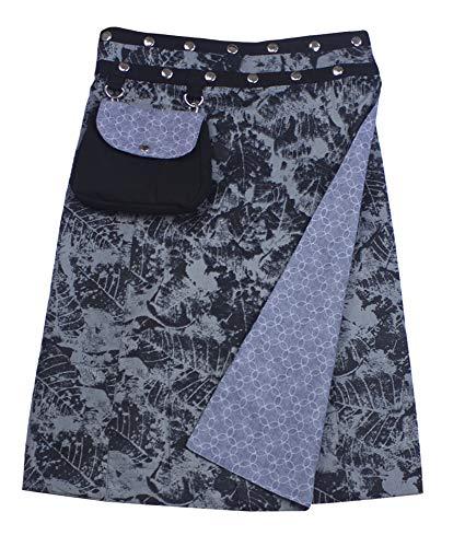 Sunsa Damen Rock Knielang Sommerrock Wickelrock aus luftiger Baumwolle, 2 Designs midi Röcke in einem, Skirt Größe verstellbar, Geburtstag Geschenk für Frauen, Hippie Boho Bekleidung 15732