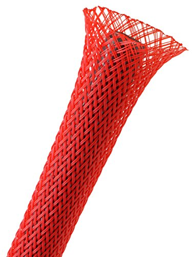 Electriduct 1/2' PET Expandable Braid Sleeving Flexible Wire Mesh Sleeve - 25Ft (Red)