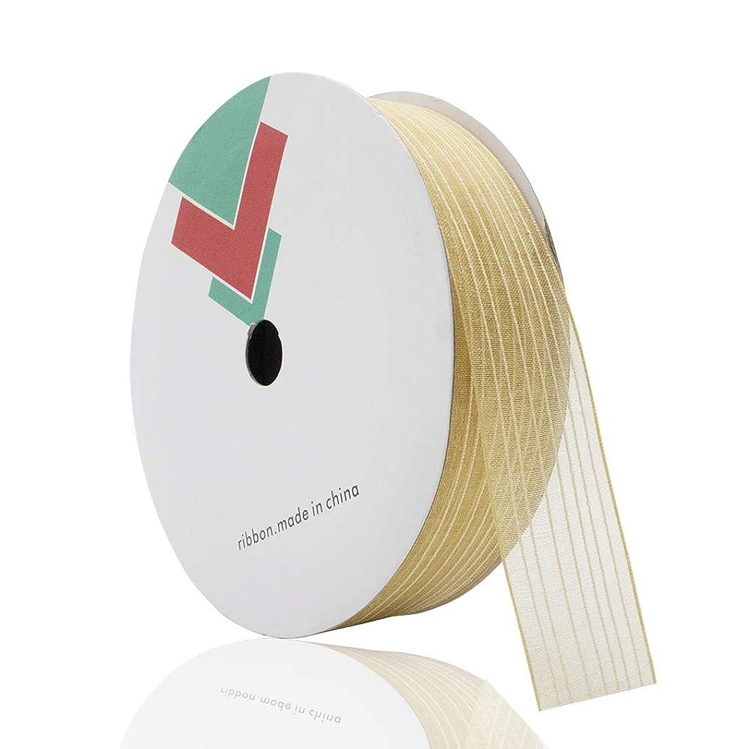Jiwinner Sheer Organza Ribbon, 1.1 Inch x 20 Yard, Gold