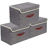E-MANIS 3 Stück Aufbewahrungsbehälter mit Deckel,Faltbare Stapelbare Aufbewahrungsboxen für Spielzeug,Kleidung und Bücher 38 x 25 x 25 cm (Grau)