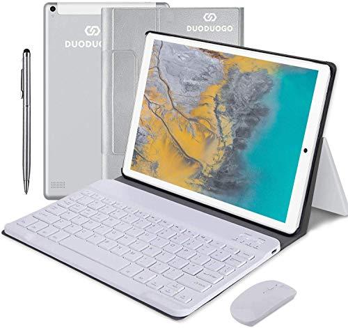 4G LTE Tablet 10 Pollici Con wifi 4GB RAM+64GB ROM, DUODUOGO Android 10.0 Tablet PC con Tastiera, 8000mAh, 4 Core, G+G Schermata IPS HD,GPS,Bluetooth,Supporta Netflix, Sky Go, DAD, ecc. (Argento)