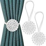 Pinowu alzapaños magnéticos para Cortina (2pcs) con diseño de Flores de Cristal y Hebillas Decorativas con Cuerda elástica para recámara, Sala de Estar, Oficina