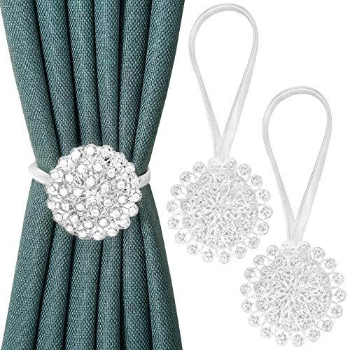 Pinowu Magnetisch Kristall Blume Vorhang Raffhalter (2pcs), Dekorativ Vorhang Halte zurück Schnalle Clips mit dehnbar String Seil für Schlafzimmer, Wohnzimmer, Büro