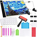 SGHUO Diamond Painting A4 LED Light Box and Tools Set, with A4 LED Light Pad, Stand Holder, Clips, Diamond Painting Roller, Diamond Painting Boxes and Diamond Painting Tools, 37pcs