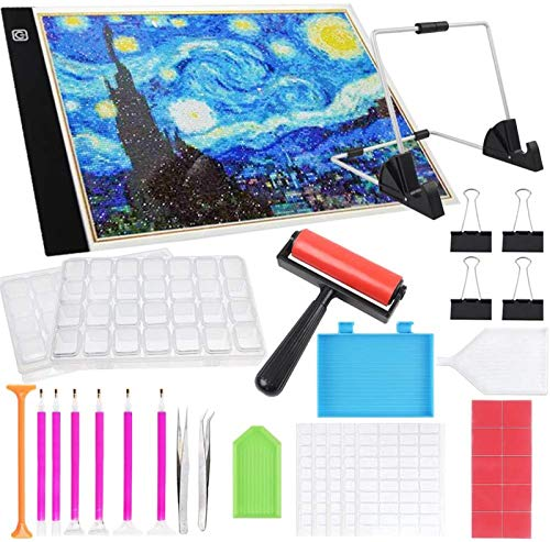 37pcs Diamond Painting A4 LED Light Pad Kits 5D Diamond Art Tool Set, Adjustable Brightness with Stand, Roller and Clips