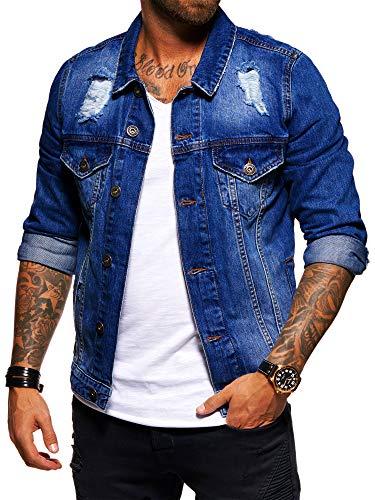 behype. Herren Destroyed Jeans-Jacke Denim 55-0190 Dunkelblau M