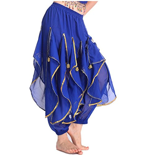 MUNAFIE Belly Dance Harem Pants Tribal Arabic Halloween Pants with Gold Trim US0-14 Navy Blue