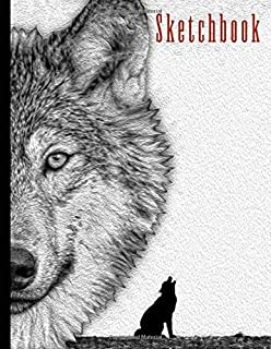 "Sketchbook: Wolf Themed Personalized Artist Book | Soft Cover Blank Sketch Pad Tablet | 8.5"" x 11"", 108 pages 