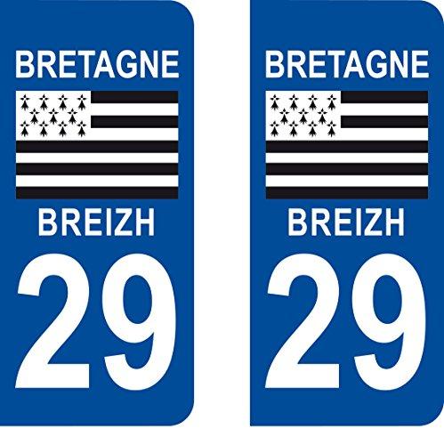SAFIRMES 2 Stickers Autocollant Style Plaque Immatriculation département 29