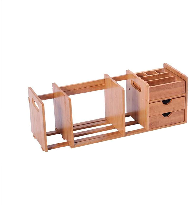JCAFA Shelves Desktop Manager Bookshelf DIY Desktop Storage Rack Multifunction Bamboo Shelf Scalable, with Drawers (color   B2)
