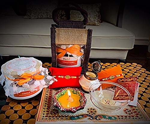 Farm Naturelle Pack Contains 1x450 GMS Jungle Forest Honey in a Jute Bag, One Elegant Rakhi and 1 Set of Red Sindoor Teeka, Chandan, Rice and Misri