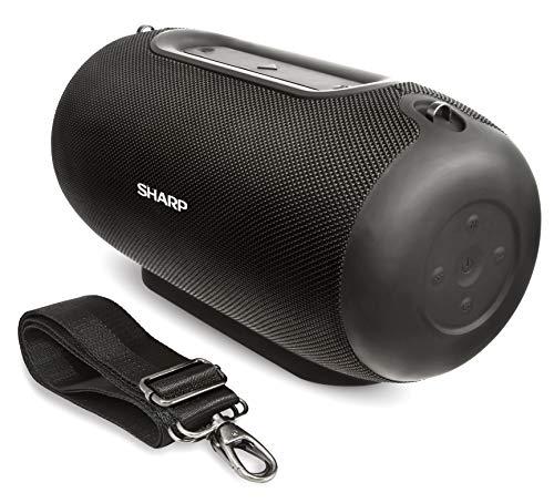 Sharp GX-BT480 (BK) Stereo-Bluetooth-Lautsprecher (100 dB + SPL-Ausgang, 20 Stunden Spielzeit, 3 EQ, Micro-SD, Staub-Spritzwasser geschützt, Mikrofon für Telefon, Google & Siri) schwarz