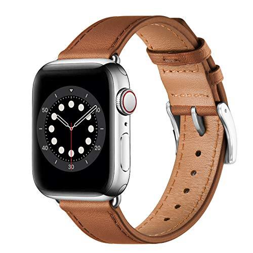 BesBand Compatible con correas de Apple Watch de 44 mm, 42 mm, 40 mm, 38 mm, correa de repuesto de piel auténtica para hombres y mujeres para iWatch SE y Series 6/5/4/3/2/1 (Marrón/Plata, 38 mm/40 mm)