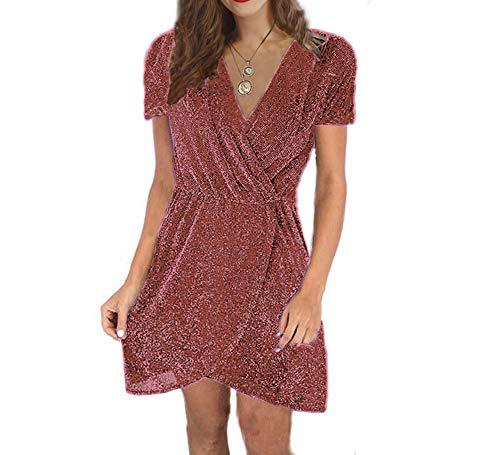 cxzas852 Kleid Weiblicher V-Ausschnitt Unregelmäßige Pailletten Nachtclub Abendkleid Kurzarm